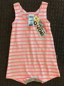 Bonds Baby Girl Pink White Stripe Singlet Suit Stretchies Size 000 0-3 Mth BNWT