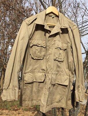 Vintage USAF US AIR FORCE Tan Bush Tropical Safari Uniform Jacket. Size  42 L