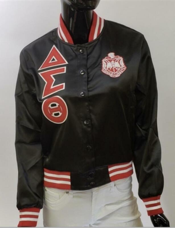 Delta Sigma Theta-Black Satin Jacket (Size XL)
