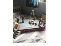 WWE Official Scale Ring and 9 FIGURES