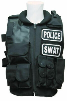 Police & Swat Tactical Costume Vest With Pouches, Adjustable size fit M-XL Size](Swat Costume Vest)