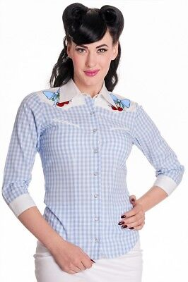 hell bunny cherry new western check jessie blouse 50s stylesize 10 blue gingham