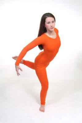 Body Wrappers 117 Child Size Small (4-6) Orange Full Body Long Sleeve - Full Body Unitard