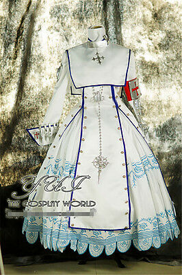 Trinity Blood Esther Blanchett Gothic Nun White Dress Cosplay Costume Full Sets](Esther Costume)