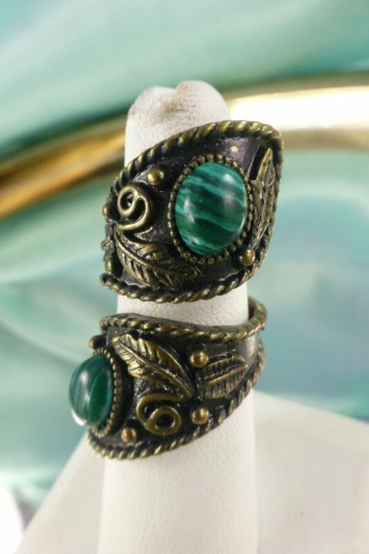 Vintage Bronze Tone & Malachite Long Spiral Fashion Ring Size 5