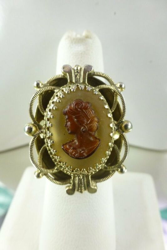 Vintage Victorian Style Cameo Ring Glass Gold Tone Size 7 Lady Profile Face