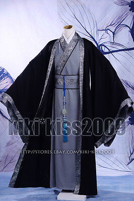 China Han Fu Kimono Men's Festival Cotten&LInen Robe Black&Gray Custom-Made