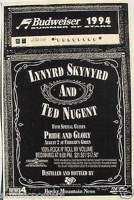 LYNYRD SKYNYRD / TED NUGENT / PRIDE GLORY 1994 DENVER CONCERT TOUR POSTER - $11.99