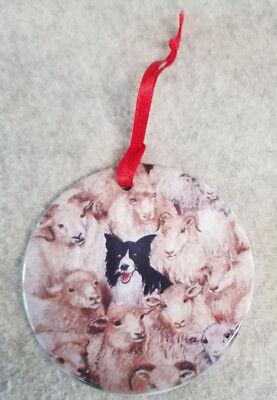 NEW Border Collie sheep Porcelain Ornament Round