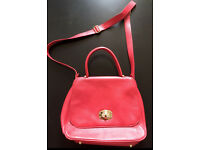 Cherry-red genuine leather bag