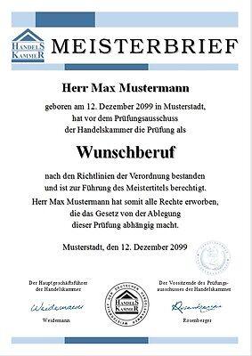 Meisterbrief Meistertitel Meisterurkunde Meisterdiplom Urkunde Diplom - UK-628