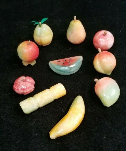 Antique Italian Marble Hand Carved Miniature Stone Fruit Lot of 10