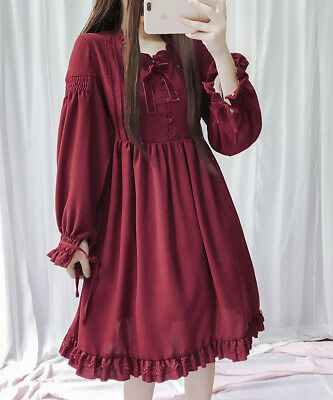 Gothic Girl (Women's Girl Gothic Lolita Skirt Japan Bow Knot Ruffles Lace Puff Sleeve Dress )