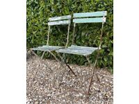 Vintage 60s Matching Pair of Weathered Wrought Iron & Wooden Garden Chairs