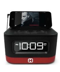 Ihome Space Saver FM Stereo Alarm Clock Radio With USB Charging (ihm50bc) Red