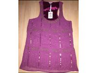 Ladies beaded pink top by Fossil size 8-10 approx - BNWT