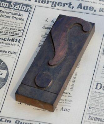 Huge Question Mark Letterpress Wooden Printing Block Art Nouveau Wood Type