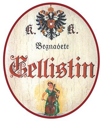 Cellistin Nostalgieschild