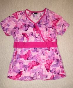 Pink Butterfly Scrub Top