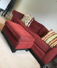 3 Seater Red Sofa & Footstool