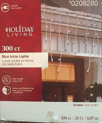 300 Holiday Living Blue Icicle Christmas Holiday Lights 20 Ft Long