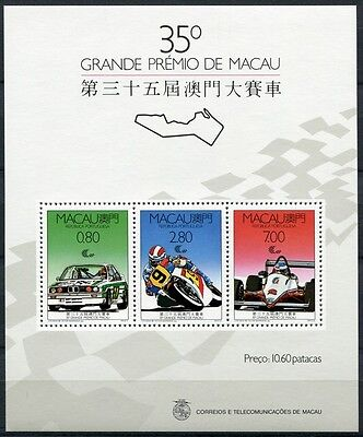 Macau Macao 1988 Block 10 Grand Prix Sportwagen BMW Motorrad Cars MNH