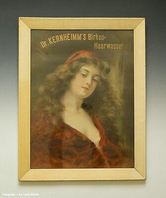 Historische Reklame unter Glas Dr. KERNHEIMM`s Birken-Haarwasser um 1910