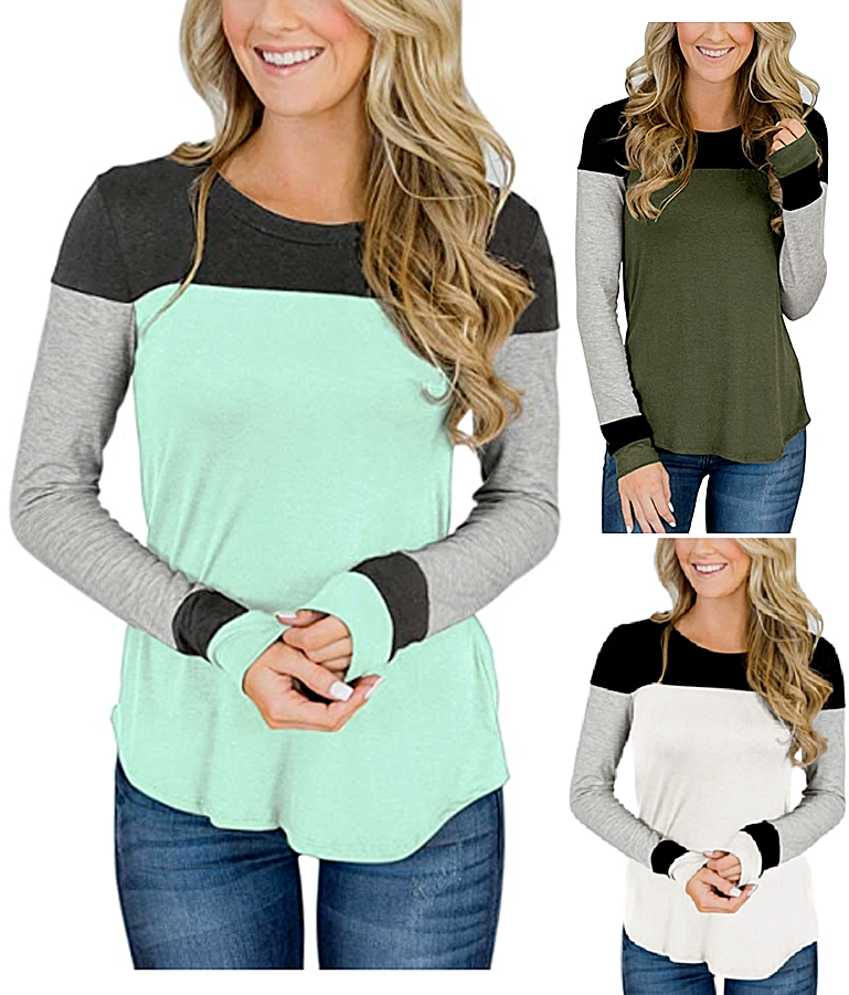 Women's Color Block Long Sleeve Cute Soft Shirt Round Neck Casual Tops Stylish Clothing, Shoes & Accessories