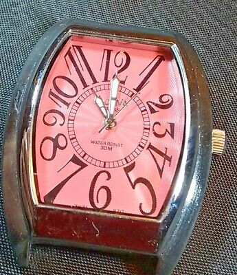 ACTIVA Women's Watch Pink Dial Swiss Case is 36mmx52mm Needs Band - NEW BATTERY