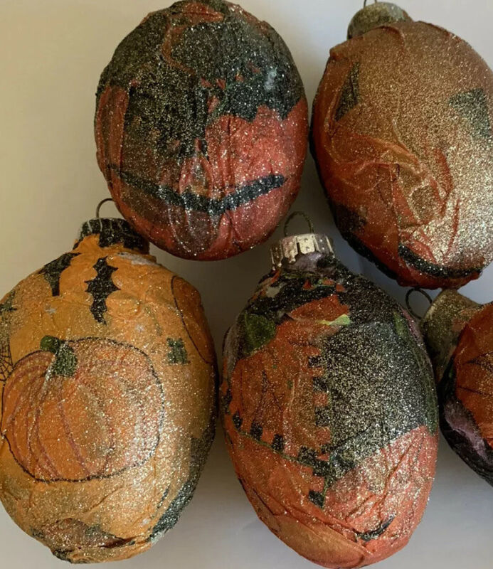 4 Vintage Halloween Paper Mâché Non-Breakable Holiday Ornaments Handmade