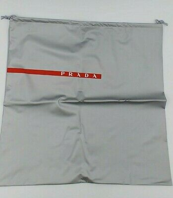 PRADA Silver Shoe Dust Bag Protective Cover Drawstring Plastic Storage 16.5""