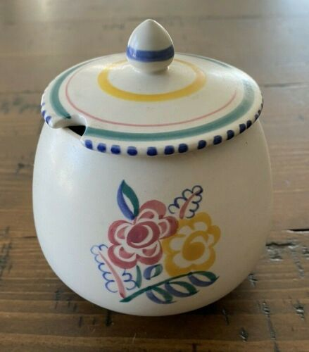 Poole Pottery Sugar Bowl Lid England Art Deco China Hand Painted Floral