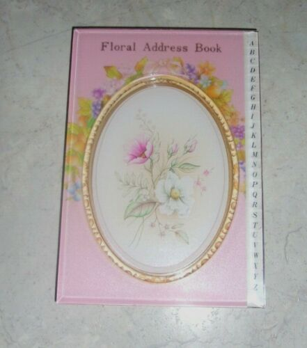 Vtg New 1989 Taiwan Floral Shabby Pink Hard Plastic Covers Address Book A - Z