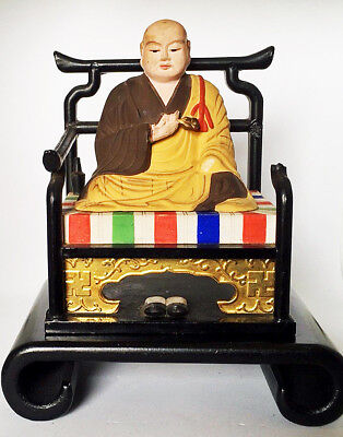 Buddha Antique Tibetan On Traditional Cushion And Chair