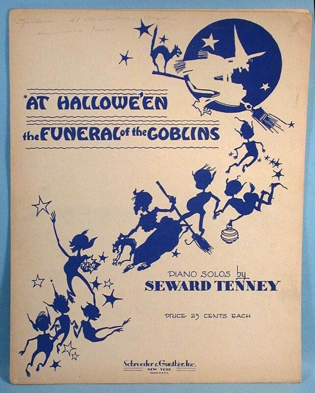 1936 Funeral of the Goblins Original Halloween Sheet Music Witch Black Cat Spook