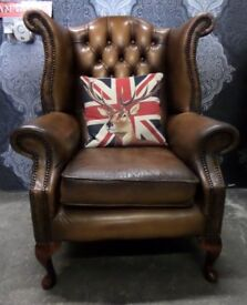Stunning Chesterfield Queen Anne Wing Back Chair in Tan Leather - UK Delivery