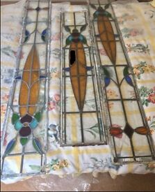 1930s stained glass window door panels