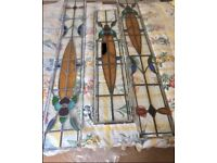 Stained glass leaded window door surround panels 1930s period