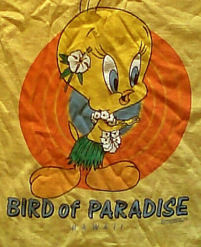 Vintage 80s Crazy Shirts Hawaii Tweety Bird Of Paradise T-Shirt M s looney tunes
