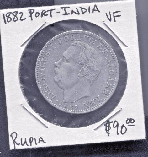 PORTUGUESE INDIA - FANTASTIC HISTORICAL LUIZ I SILVER UMA RUPIA, 1882