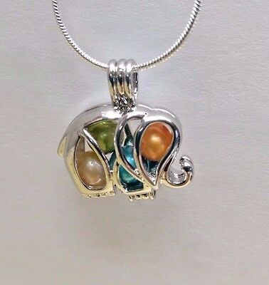 Make A Wish Pearl Cage Pendant Necklace   Elephant   925 Chain Pearl Included