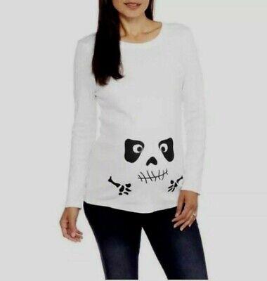 NWT INTROSPECT MATERNITY Sz XXL White Cotton Halloween Skeleton Face LS Knit Top](Skeleton Pregnancy Top)