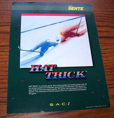 BALLY SENTE 1984 HAT TRICK ORIGINAL VIDEO ARCADE GAME SALES FLYER BROCHURE