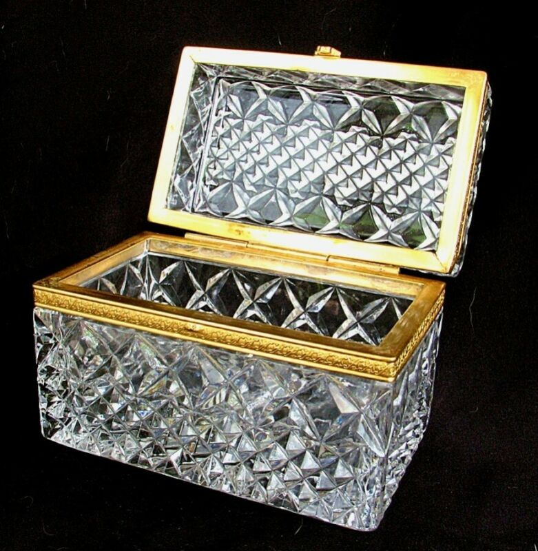 ANTIQUE FRENCH BOX *CUT CRYSTAL*  *LARGE w GOLD DORE c.1900