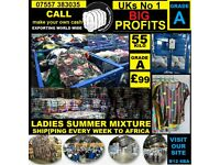 Grade A Ladies summer used clothes in bales of 55 kilo, perfect for export