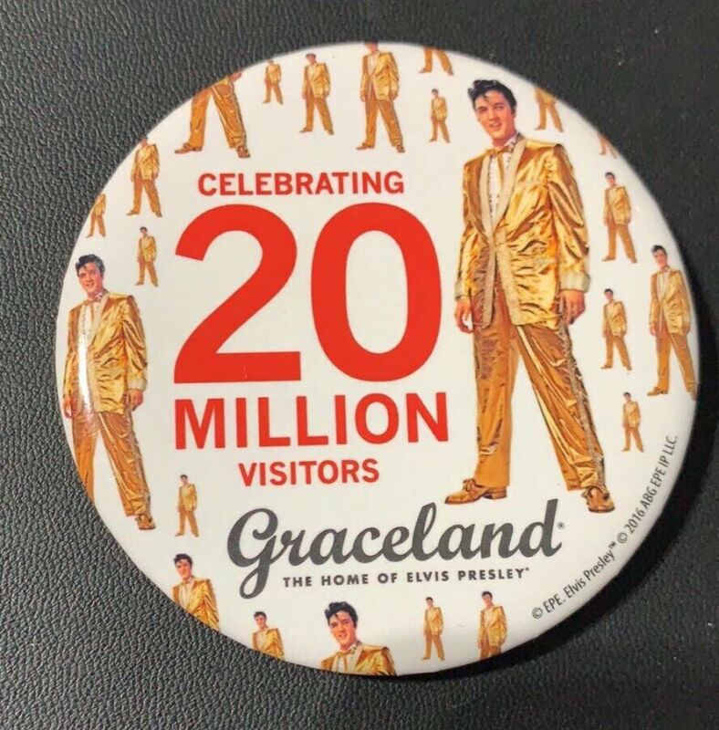 Graceland Employee Elvis Button 20 Million Visitors / Pin / Direct From Memphis