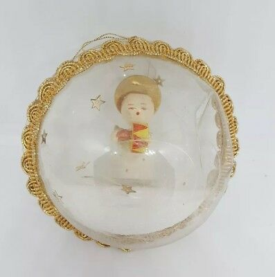 Plastic Christmas ornament with Angel inside Vintage with defects:  dents
