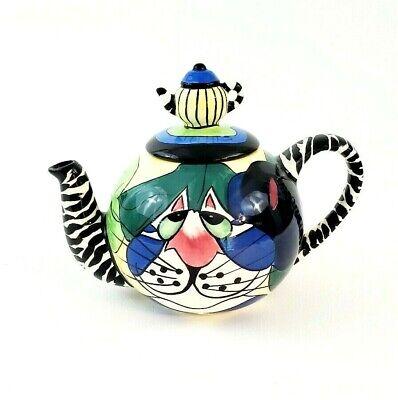 SWAK Teapot CLANCY CAT mini teapot lid Signed Lynda Corneille