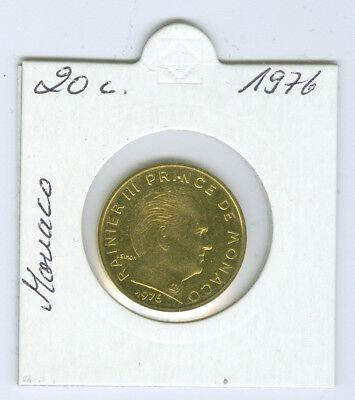 Monaco  20 Centimes 1976 stempelglanz
