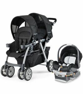 Chicco twin stroller with car seats